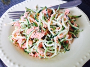 salmon with zoodles