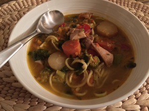 roasted root veggie chicken soup