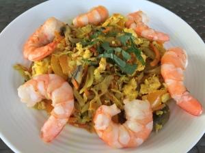 thai cabbage and shrimp stir fry